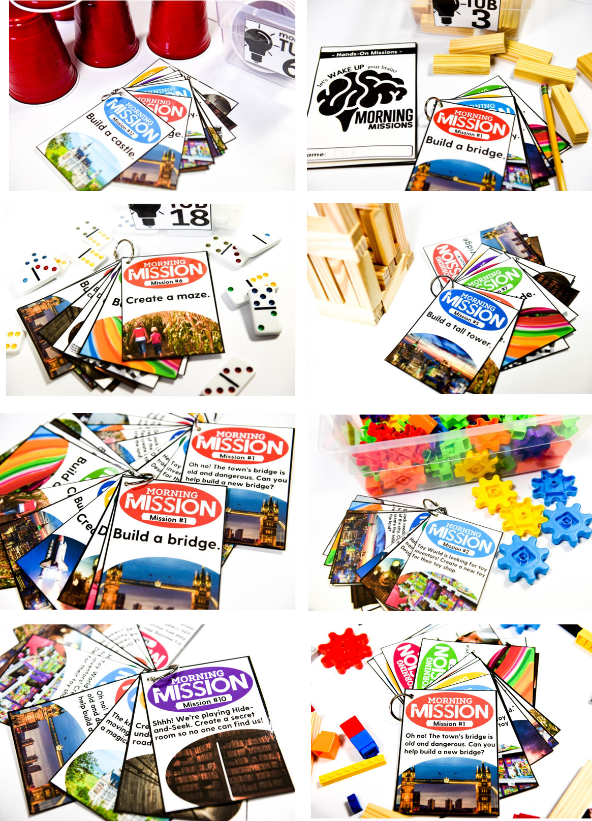 Different hands-on morning mission cards for your students
