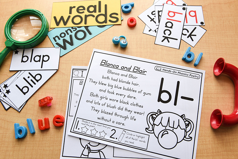Different activities for phonics poetry