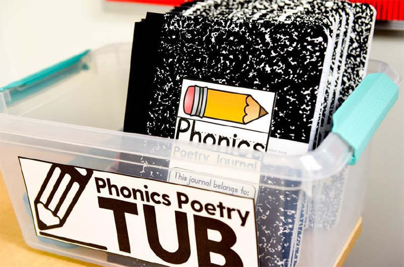 Phonics poetry tub to organize all activities