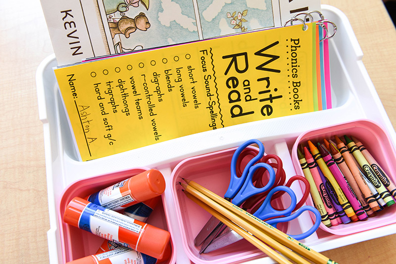 Include the phonics books into desk caddies
