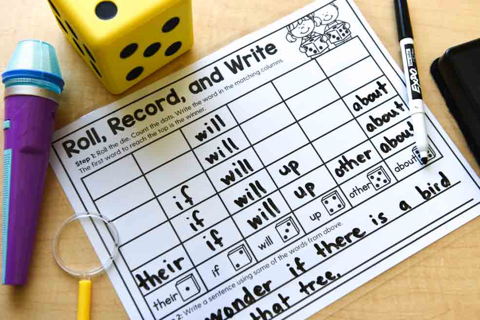 Learning materials: Roll, record, and write