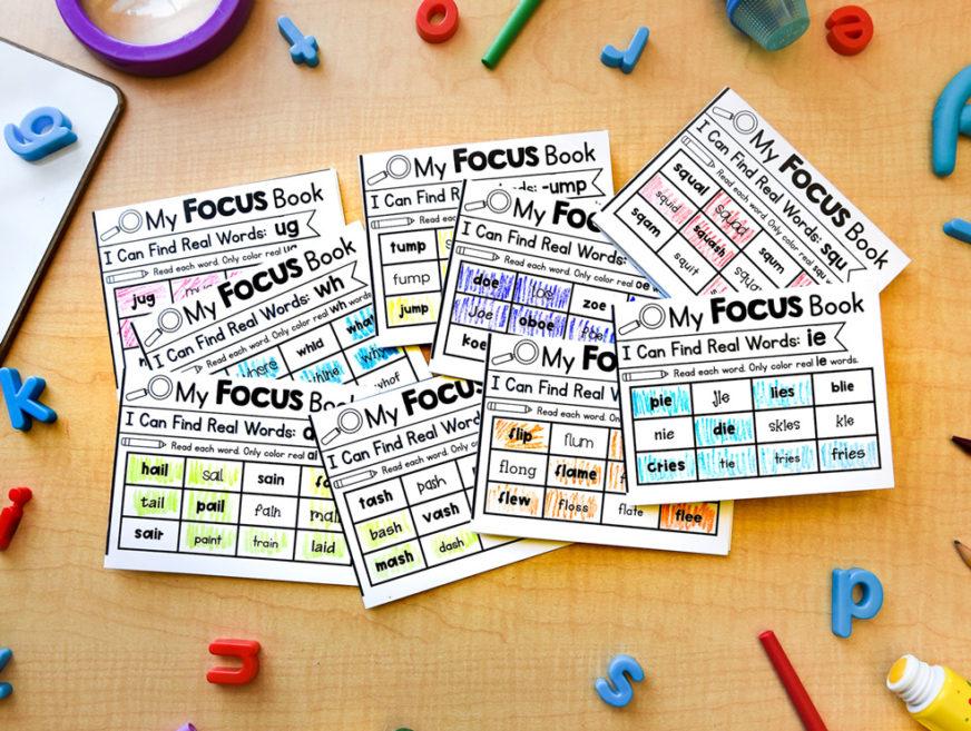 Phonics mini books for word work