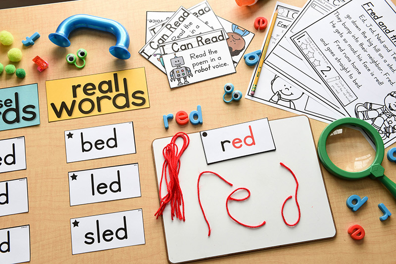 Different hands-on activities for phonics poetry