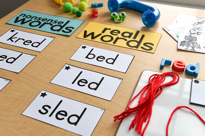 Differentiating real words from nonsense words