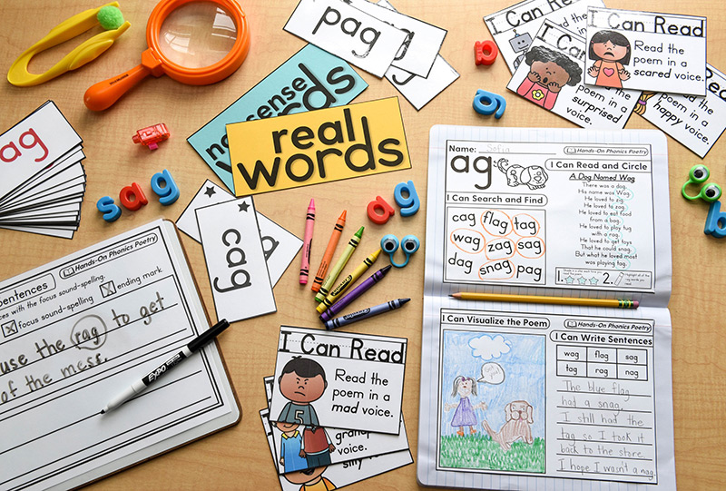 Various hands-on activities for phonics fluency