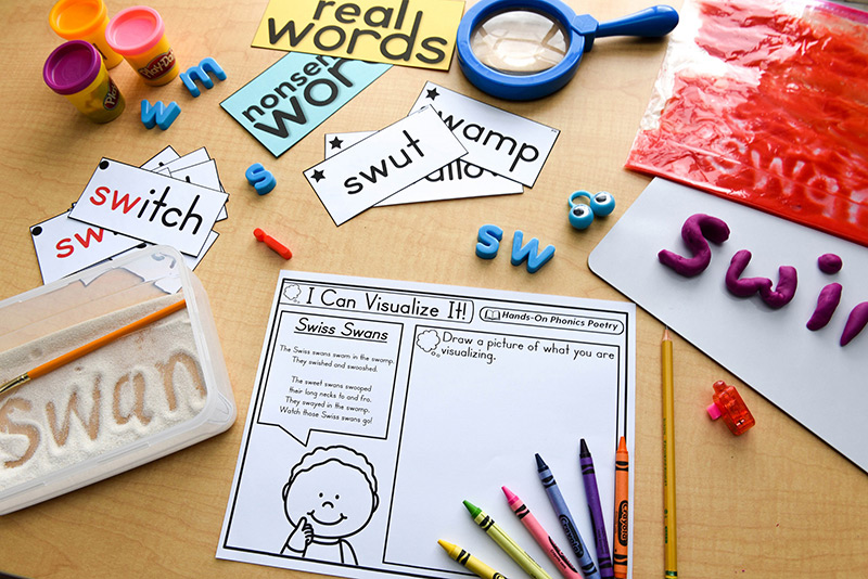 Different hands-on phonics fluency through poetry