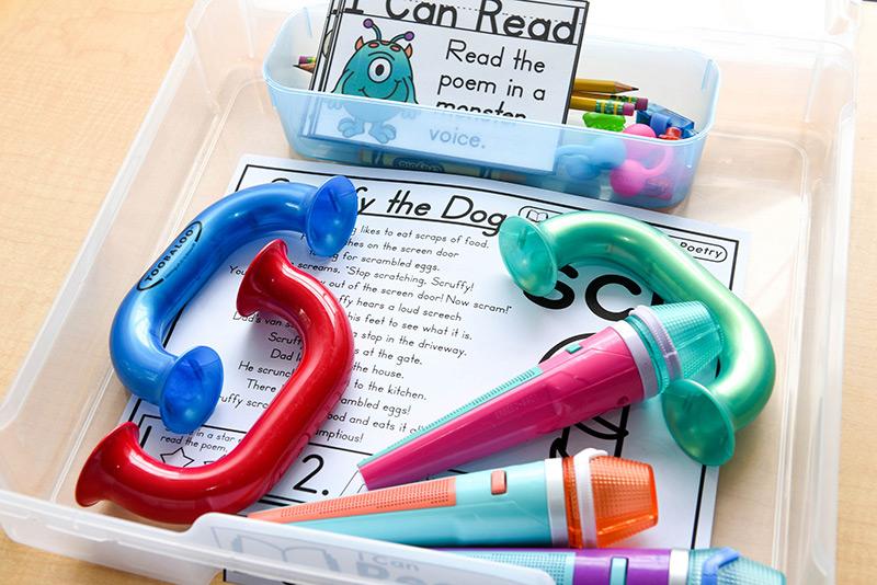 Bins to organize activities